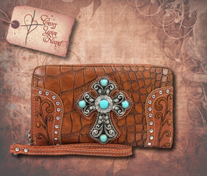 Clutch Wallet with Detachable Strap - Brown