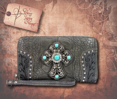 Clutch Wallet with Detachable Strap - Gray