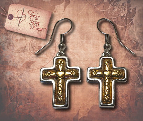 Cross with Heart Earrings - Silver & Gold