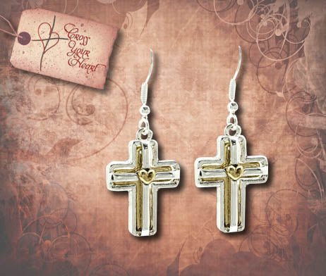 Cross with Heart Earrings