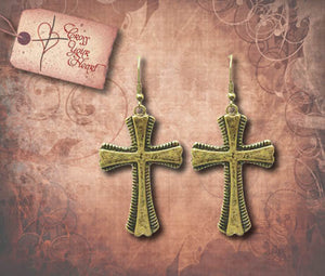 Antique Cross Earrings - Antique Gold