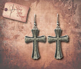 Antique Cross Earrings - Antique Silver