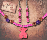 Girl's Teddy Bear Necklace and Earring Set - Pink