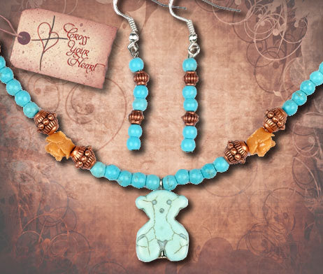 Girl's Teddy Bear Necklace and Earring Set - Turquoise