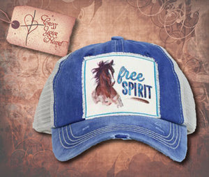 "Cap with Horse and ""free SPIRIT"" - Royal Blue"
