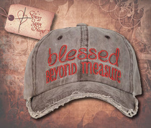 "Cap with ""Blessed BEYOND MEASURE"" - Brown"