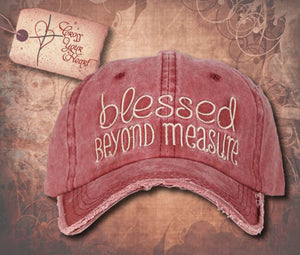 "Cap with ""Blessed BEYOND MEASURE"" - Maroon"
