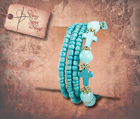 Cross & Beads Stretch Bracelet - Turquoise
