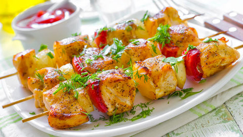 Lemon-Caper Picatta Chicken and Fruit Kabobs