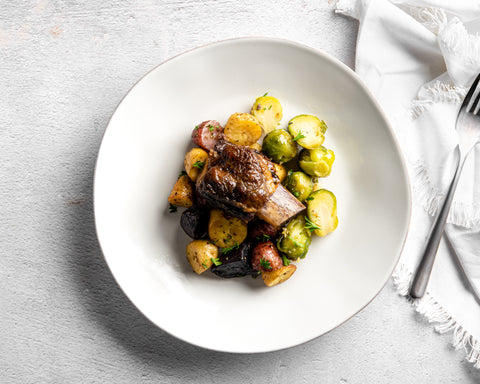 Chianti Braised Short Rib, Garlic Marble Potatoes and Brussels Sprouts