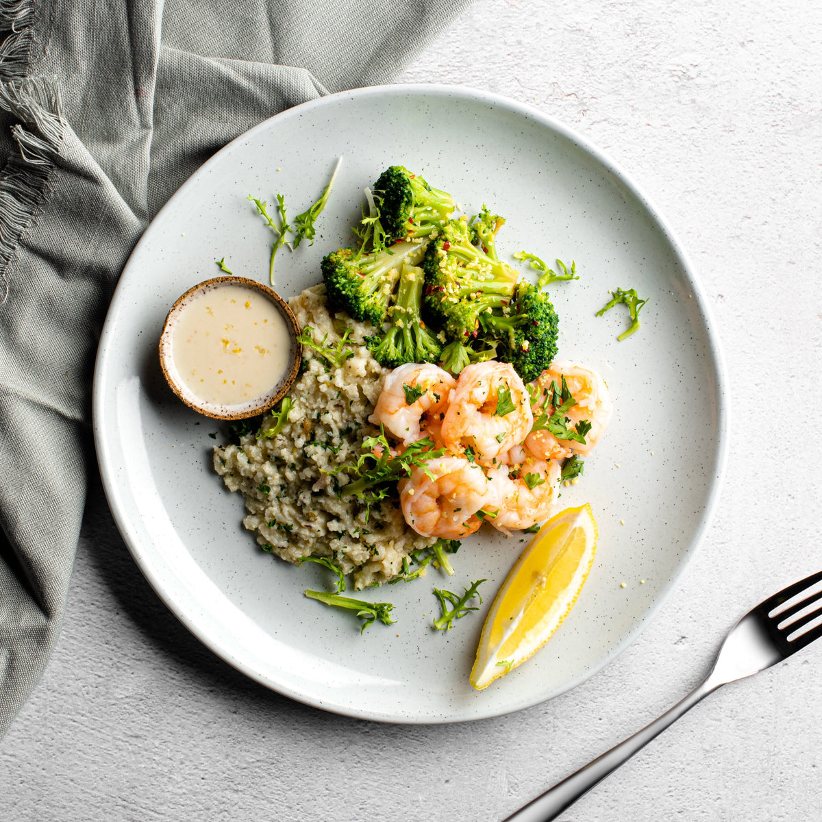 Mediterranean Orange Honey Labneh Shrimp with Herbs de Provence Risotto and Spicy Chili Broccoli - Homebistro