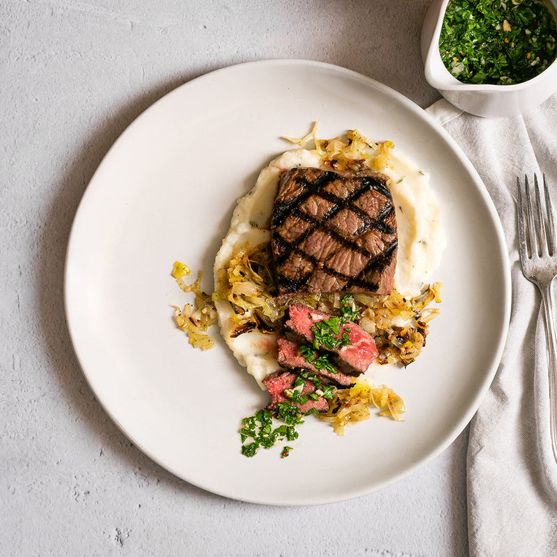Basque Beef Tenderloin with Chimichurri Sauce, Cauliflower Mashed, and Creamy Leeks - Homebistro