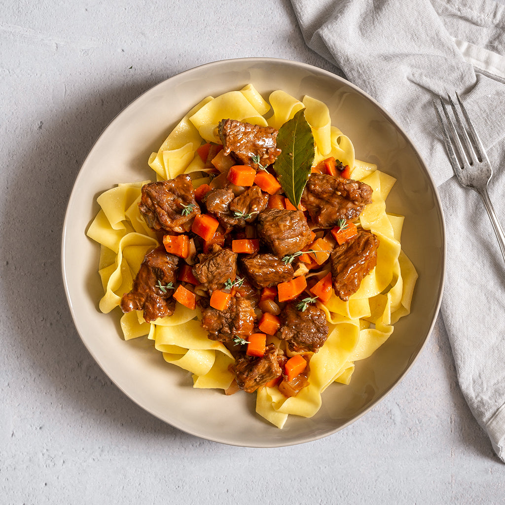 Beef Bourguignon with Carrots, Turnips, Pearl Onion, Red Wine Jus and Tagliatelle  - Homebistro