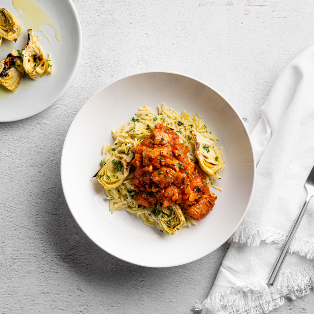 Cinnamon Stewed Chicken with Lemon Orzo and Shaved Artichoke Hearts  - Homebistro