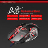 iMICE A8 3200DPI High Precision Breathable LED 6 Buttons Wired Optical Gaming Mouse Black