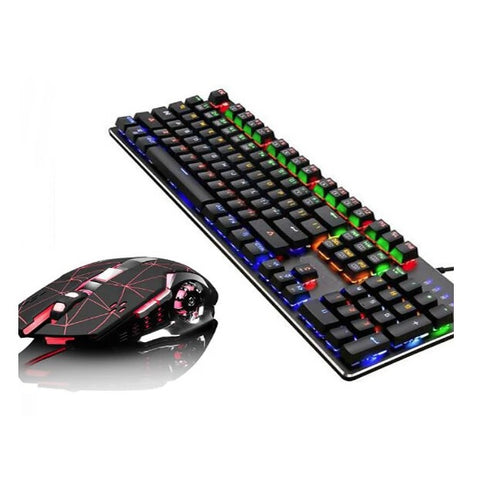 iMICE KM-900 USB Wired MultiColour Backit Gaming Keyboard + Mouse Combo Black