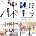 L01 3 in 1 Handheld Extendable Bluetooth Selfie Stick Tripod Black