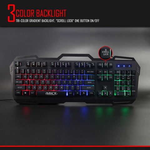 iMICE AK-400 104Keys Backlit USB Wired Multifunctional Gaming Keyboard Black