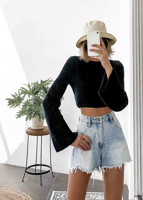 Black Crop Jumper