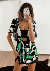 Green Retro Print Blouse Top