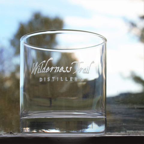 Etched rocks glass with Bourbon design