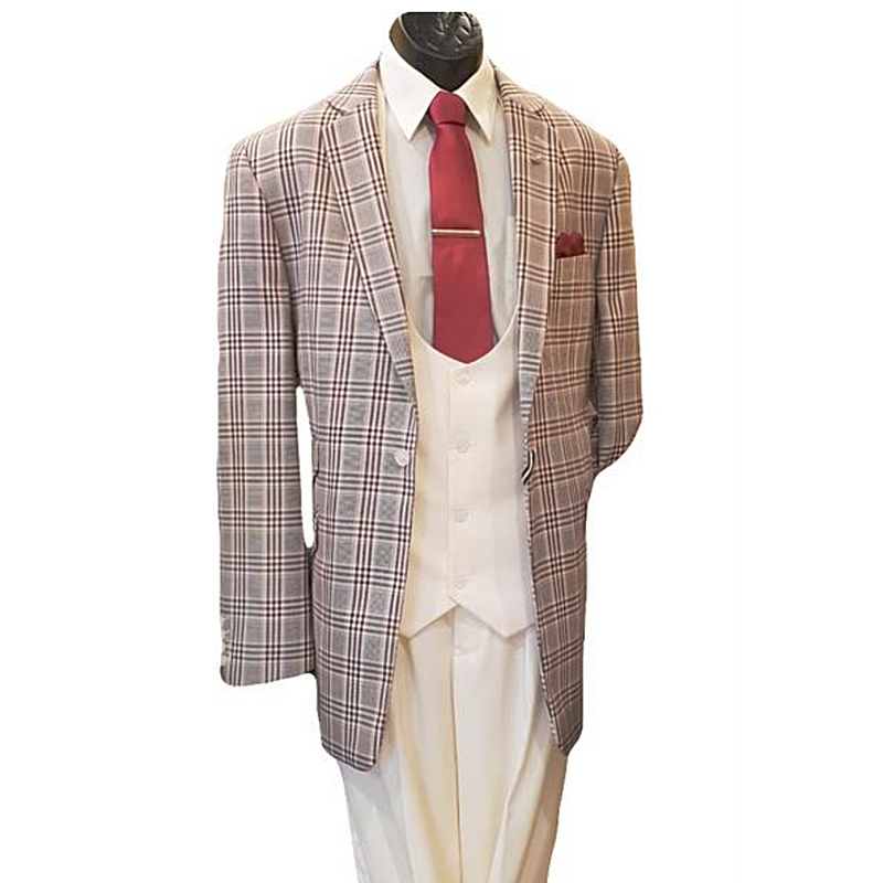 Men's 3pc Stacy Adams Plaid Suit - DF