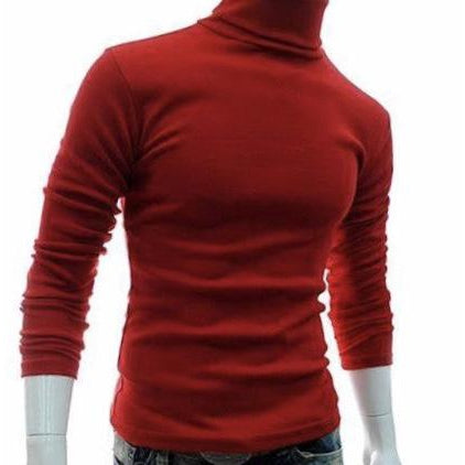 Men's Turtle Neck Solid Cotton L/S Pullover