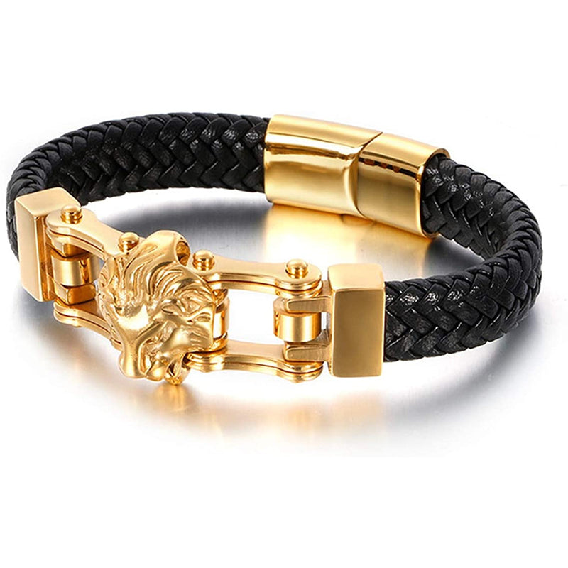 Men's Leather Band Bracelet with Lion