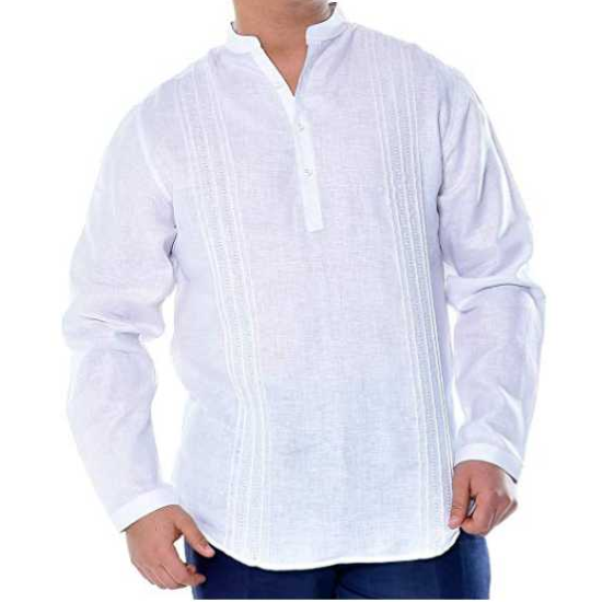 Men's Pure Linen Multi-Tuck L/S Shirt
