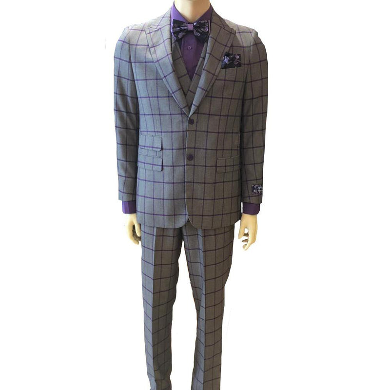Men's Blue Martini 3pc Mate Vested Peak Lapel Suit- DF