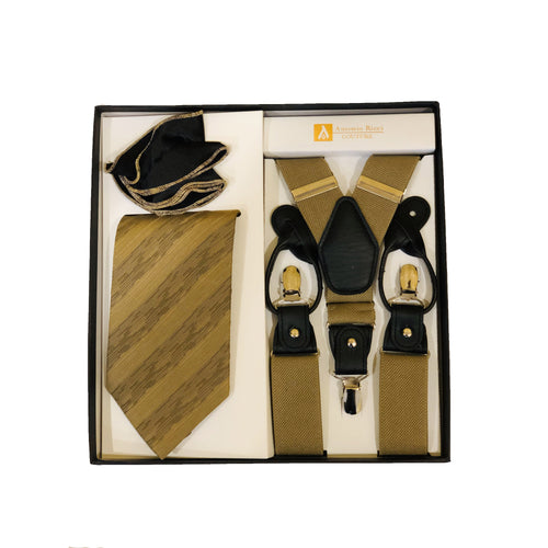 Men's 3pc Set-Tie/Round Hanky/Suspender