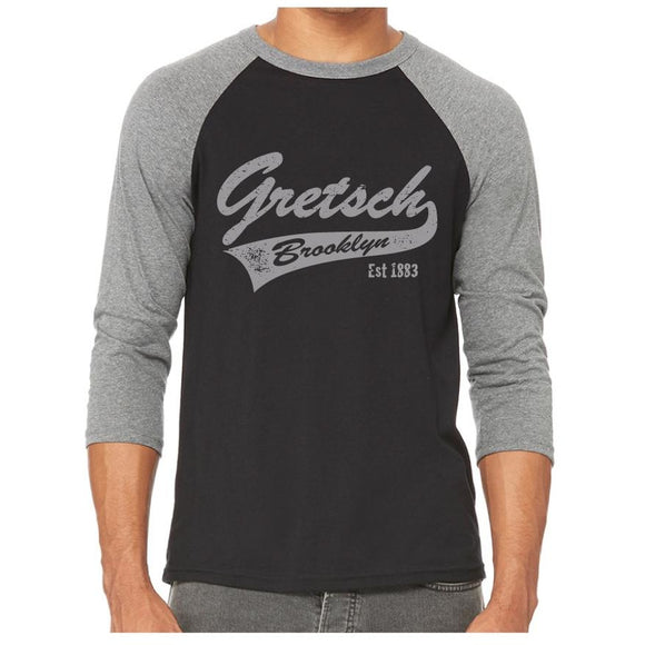 Shirt, Gretsch Brooklyn 3/4 Sleeve Raglan Baseball (Heather Grey/Black) - Gretschgear