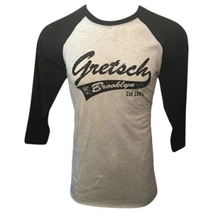 Shirt, Gretsch Brooklyn 3/4 Sleeve Raglan Baseball (Black/Heather White),  - Gretsch Gear