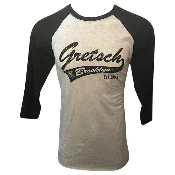 Shirt, Gretsch Brooklyn 3/4 Sleeve Raglan Baseball (Black/Heather White) - Gretschgear