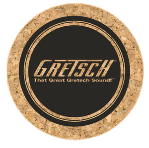 "Gretsch T-Roof 4"" Round Cork Coasters, Set of 6 - GretschGear"