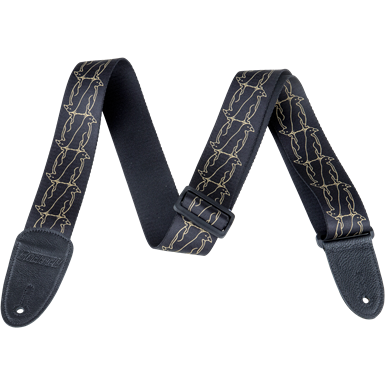 NEW!! Gretsch Double Penguin Poly Strap_Black and Gold,  - Gretsch Gear