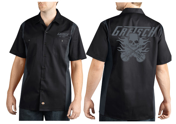 PRE-ORDER NOW! Gretsch Flaming Falcon Dickie Work Shirt, Black,  - Gretsch Gear