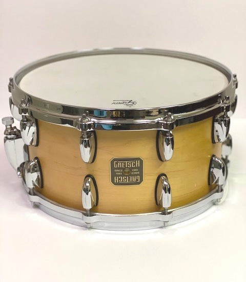 Gretsch USA Custom 7 x 14 20-Lug Satin Maple Snare, Relic NOS, Drum - Gretsch Gear