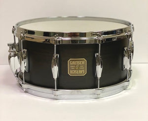 GRETSCH USA Custom 6-1/2 x 14 10-Lug Satin Ebony Snare, Relic NOS,  - Gretsch Gear
