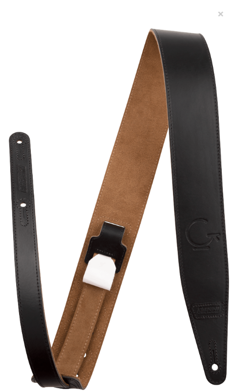 Gretsch G-Brand Leather Strap, Black, 2.5