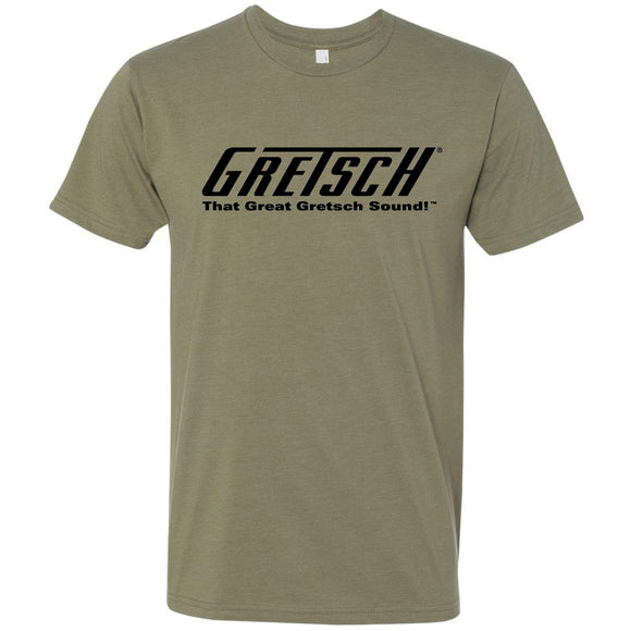 Gretsch T-Roof Logo Crew T-Shirt (Light Olive) - GretschGear