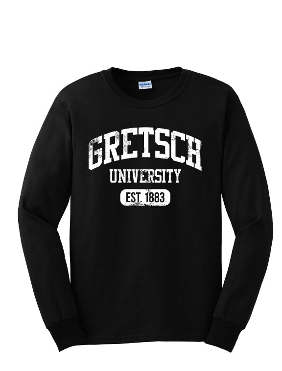 NEW!! Gretsch Varsity 100% Cotton Long Sleeve T-Shirt, Black,  - Gretsch Gear