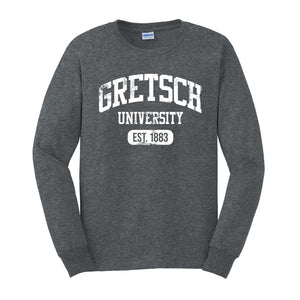 NEW!! Gretsch Varsity 100% Cotton Long Sleeve T-shirt, Dark Heather,  - Gretsch Gear