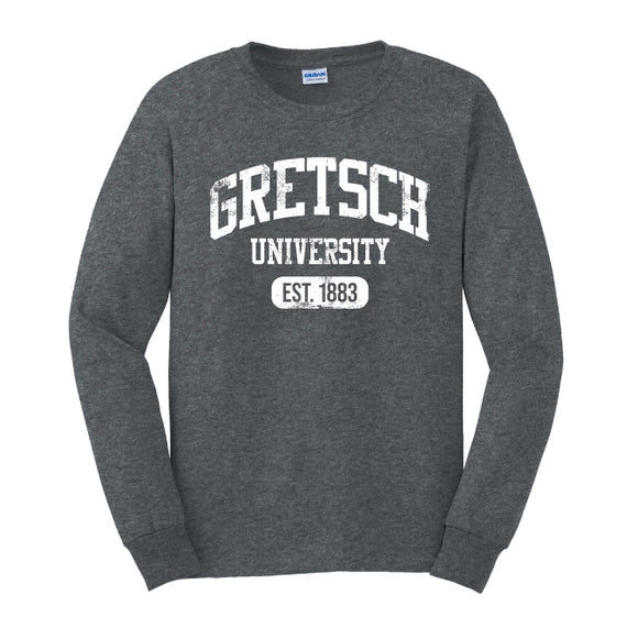 Gretsch Varsity 100% Cotton Long Sleeve T-shirt, Dark Heather,  - Gretsch Gear