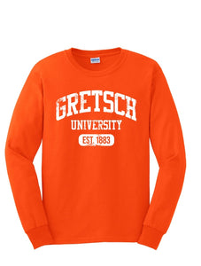 NEW!! Gretsch Varsity Long Sleeve T-Shirt, Orange (Pre-Order Available), Men Shirt - Gretsch Gear