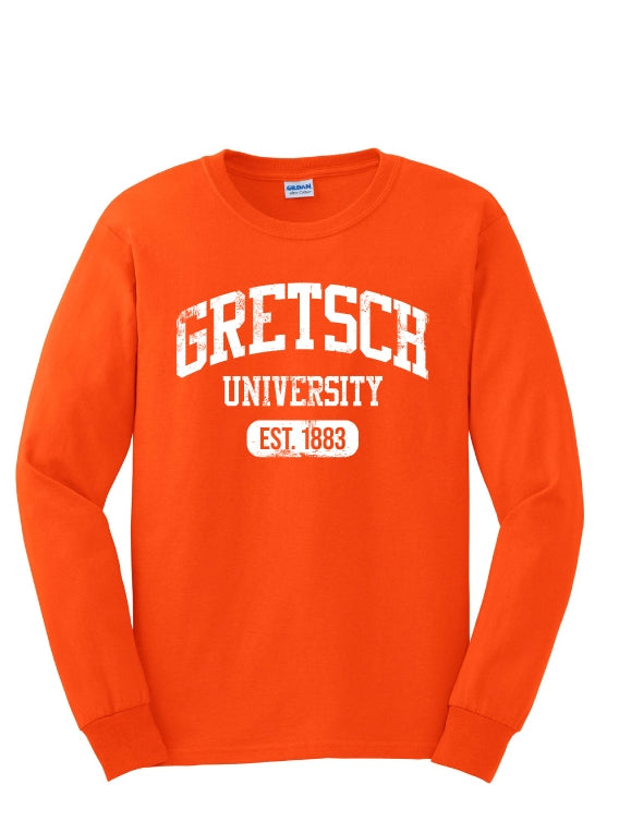 NEW!! Gretsch Varsity 100% Cotton Long Sleeve T-Shirt, Orange, Men Shirt - Gretsch Gear