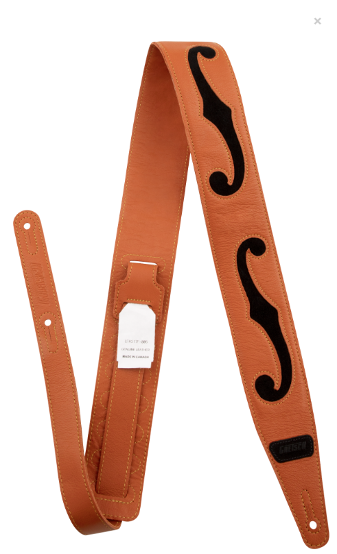 Strap, Gretsch Orange/Black F Hole Leather,  - Gretsch Gear