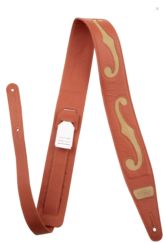 NEW!! Gretsch Orange/Tan F Hole Leather Strap,  - Gretsch Gear