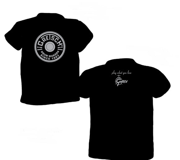 NEW! Gretsch Round Badge 100% Cotton T-Shirt, Black, T-Shirt - Gretsch Gear