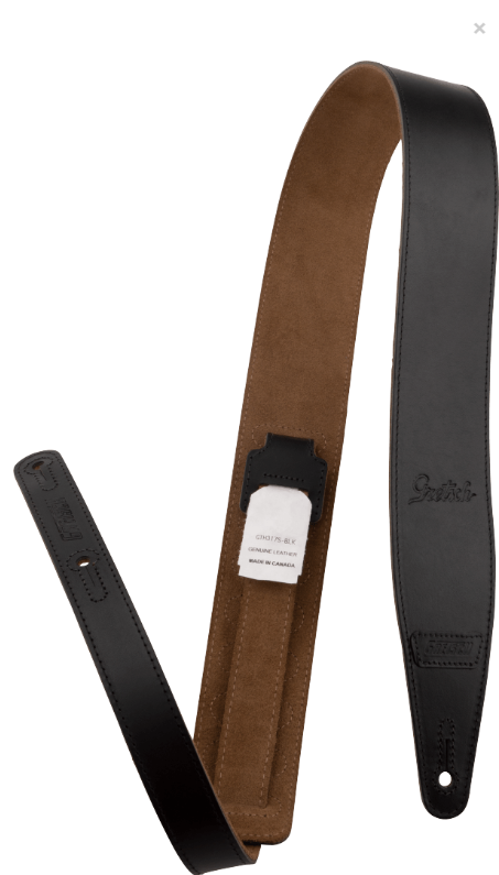 Gretsch Script Logo Leather Strap, Black, 2.5